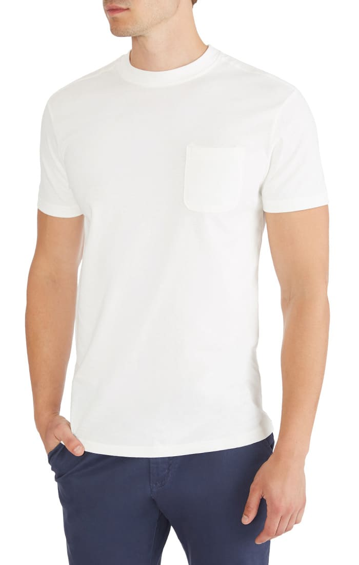 White Sueded Cotton Pocket Tee - JACHS NY