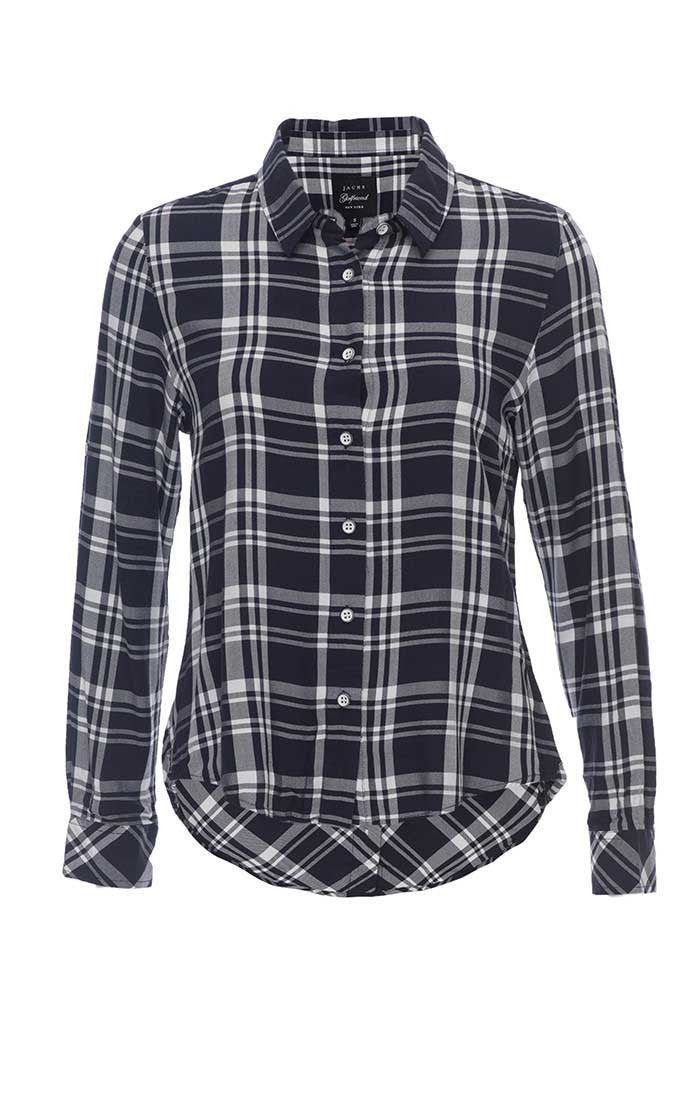Plaid Button Back Shirt - Navy