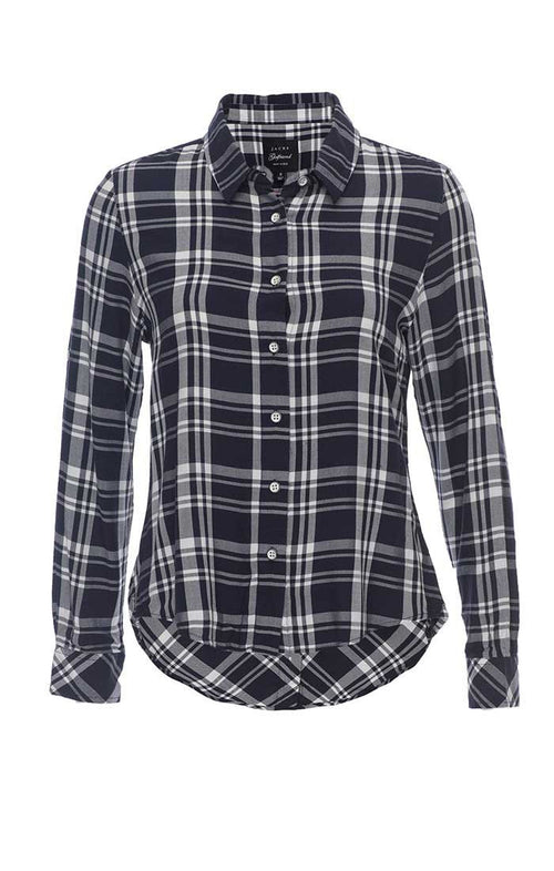 Plaid Button Back Shirt - Navy - jachs
