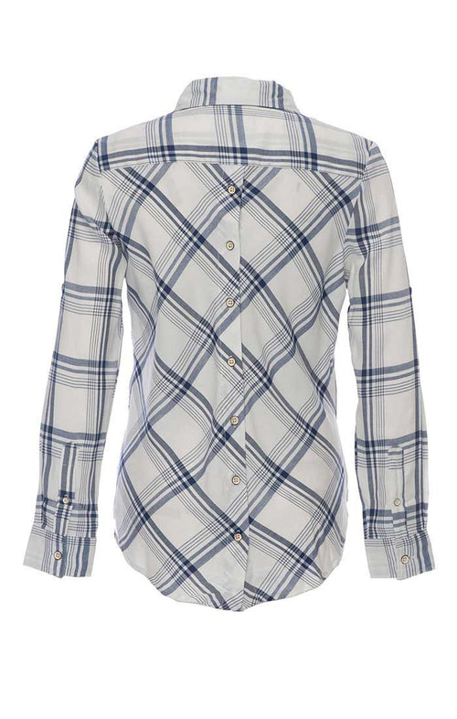 Plaid One Pocket Button Back Shirt - White and Navy - jachs