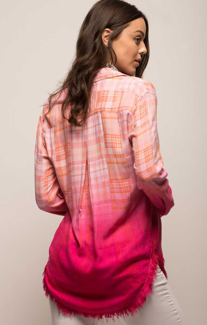 Pink Dip Dye Madras Plaid Shirt