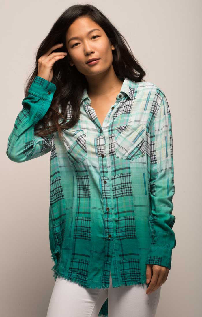 Green Dip Dye Madras Plaid Shirt