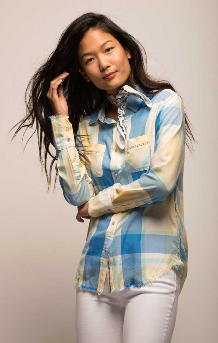 Plaid Two Pocket Button Down Shirt - Blue