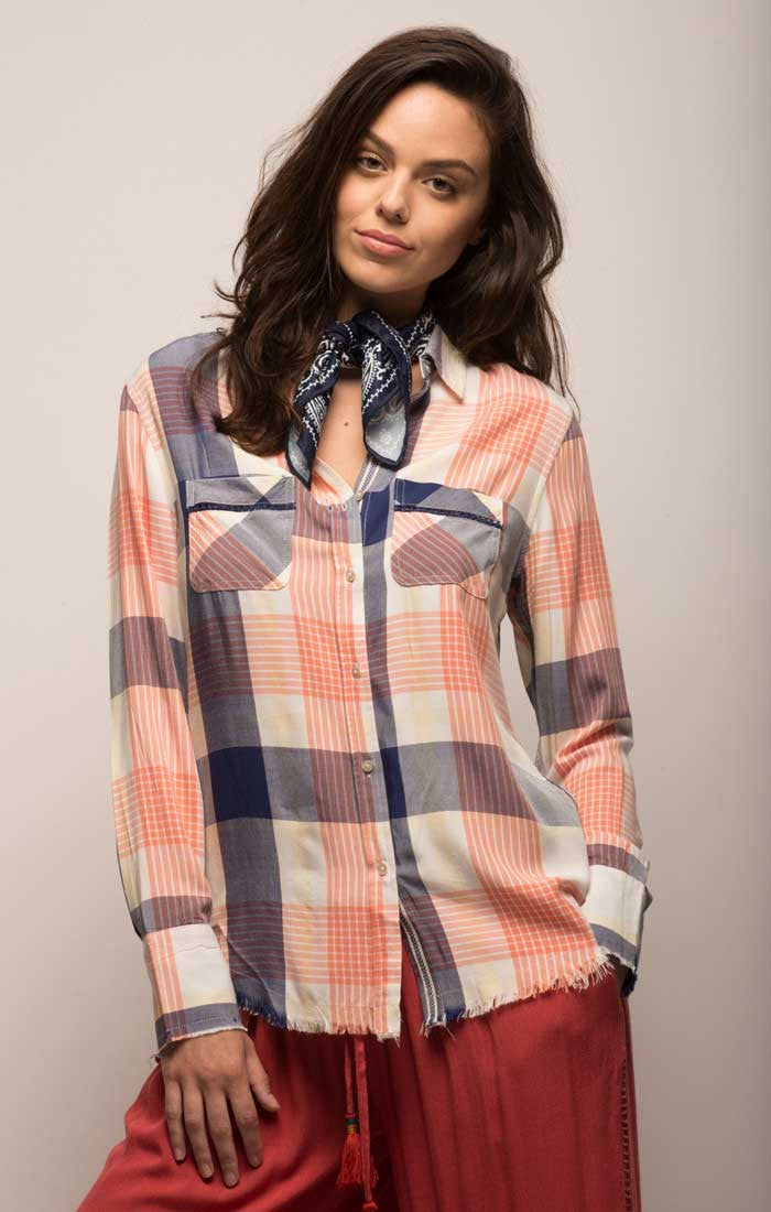 Plaid Two Pocket Button Down Shirt - Coral