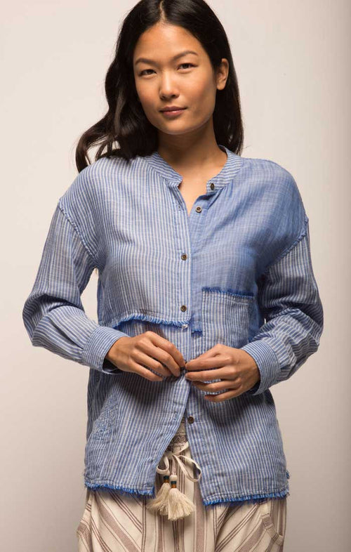 Pieced Gauze Banded Collar Tunic - Blue Striped