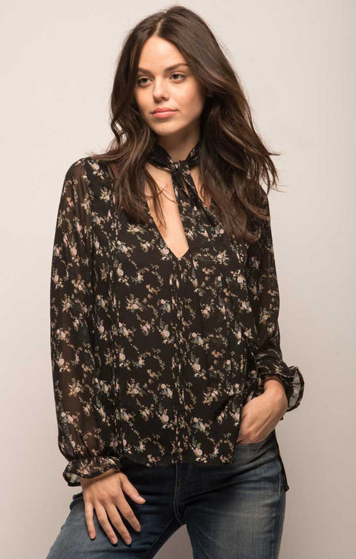 Printed Chiffon Pintuck Blouse With Detachable Necktie