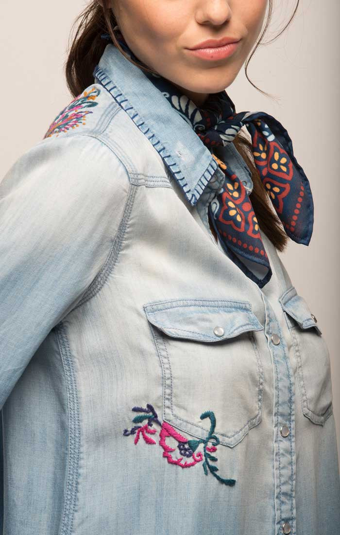 Embroidered Western Denim Shirt - Light Wash