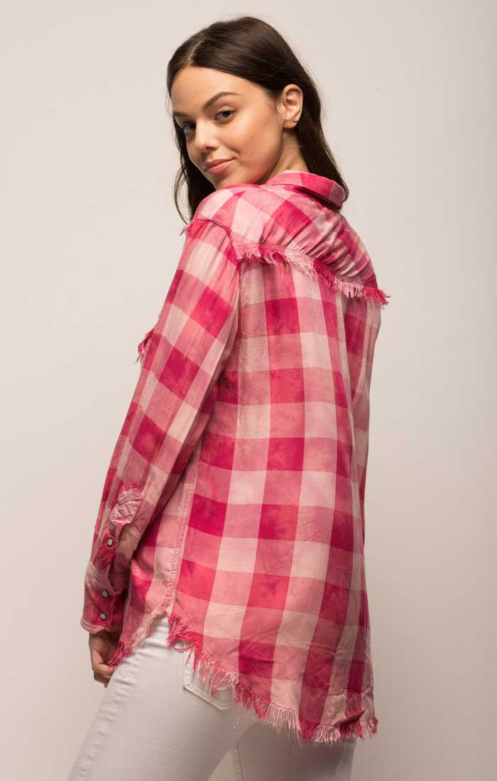 Distressed Buffalo Check Button Down - Pink