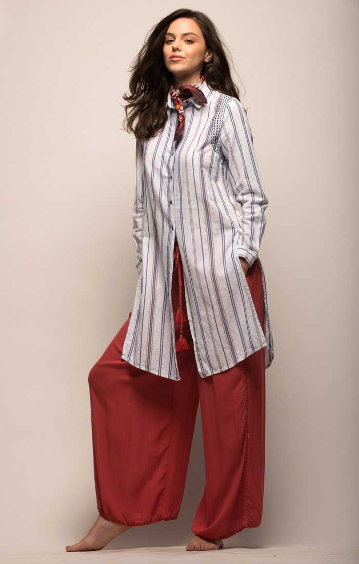 Extended Striped Baja Tunic