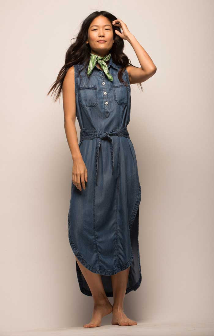 Denim Sleeveless Half Placket Shirt Dress - Dark Wash