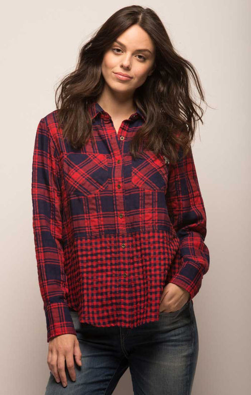 Blocked Two Pocket Button Down - Red