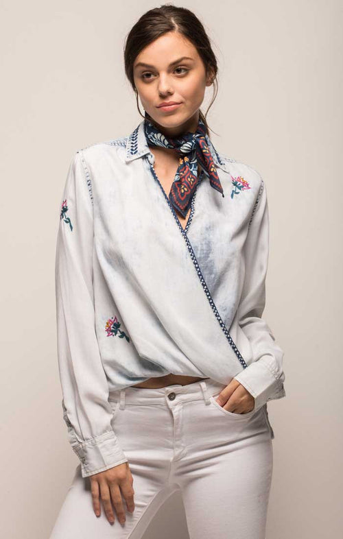 Embroidered Denim Crossover Blouse
