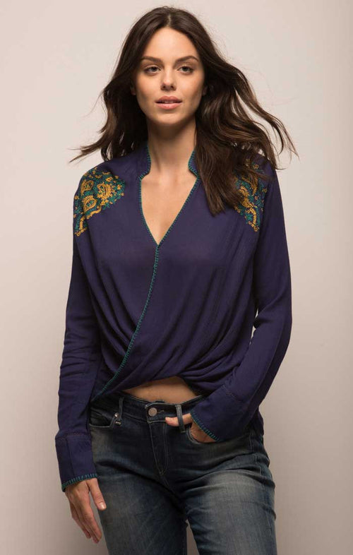Embroidered Crossover Boho Blouse - Navy