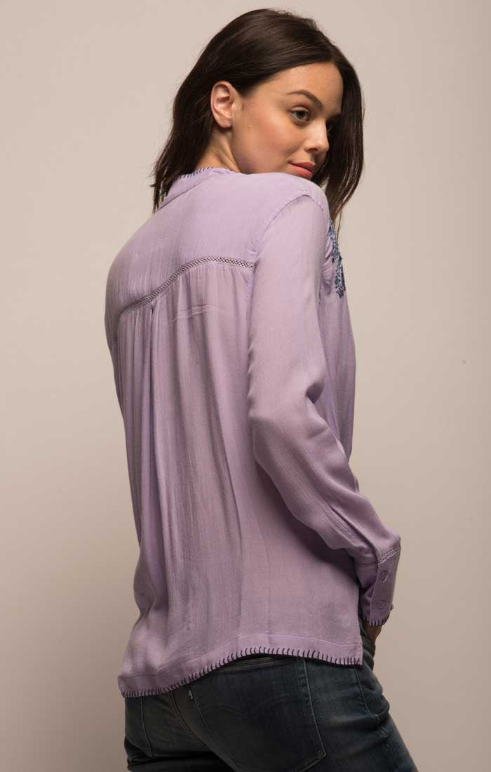 Embroidered Crossover Boho Blouse - Lavender