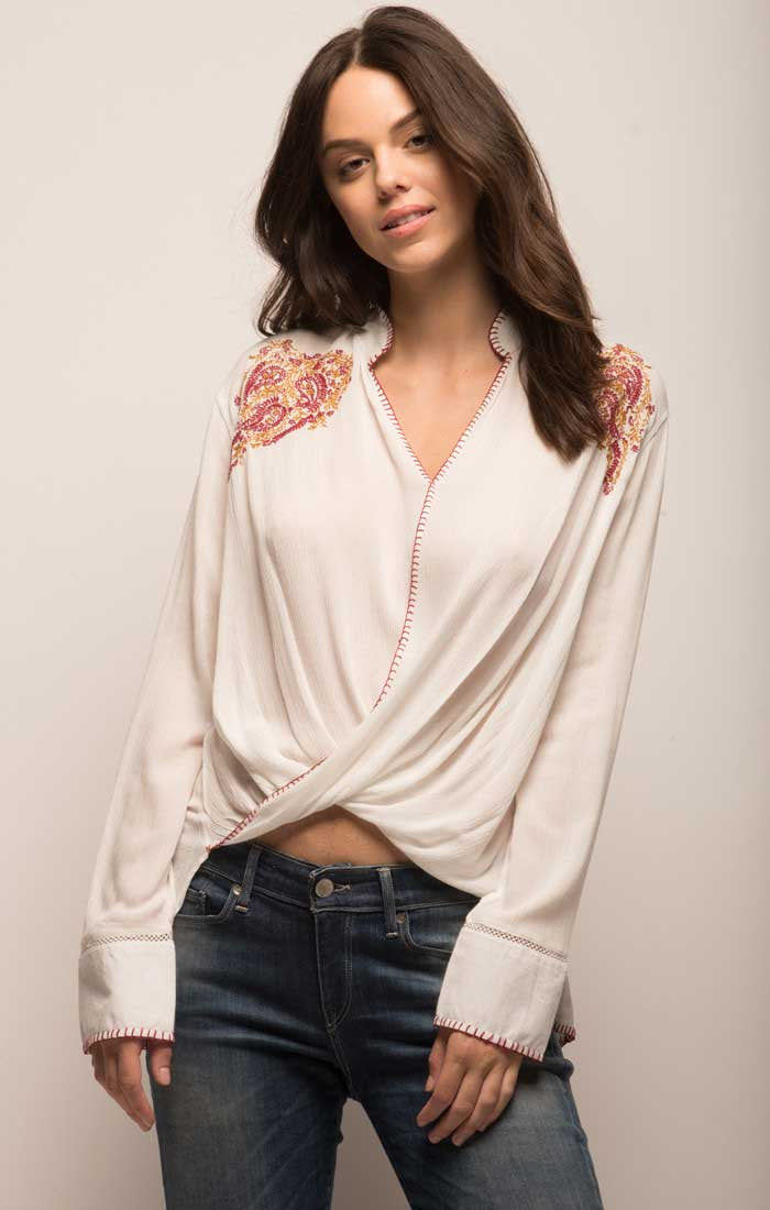 Embroidered Crossover Boho Blouse - White