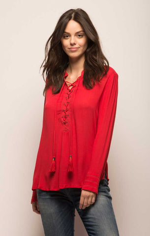 Self Tie Dolman Sleeve Ruffle Blouse