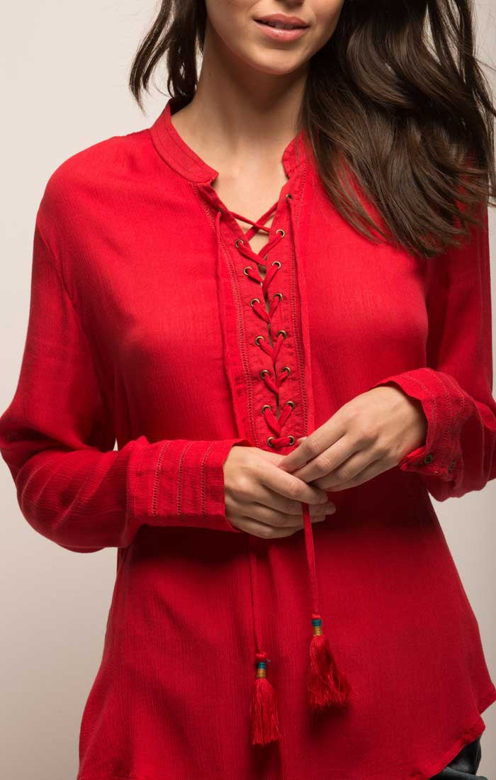 Lace Up Boho Blouse - Red
