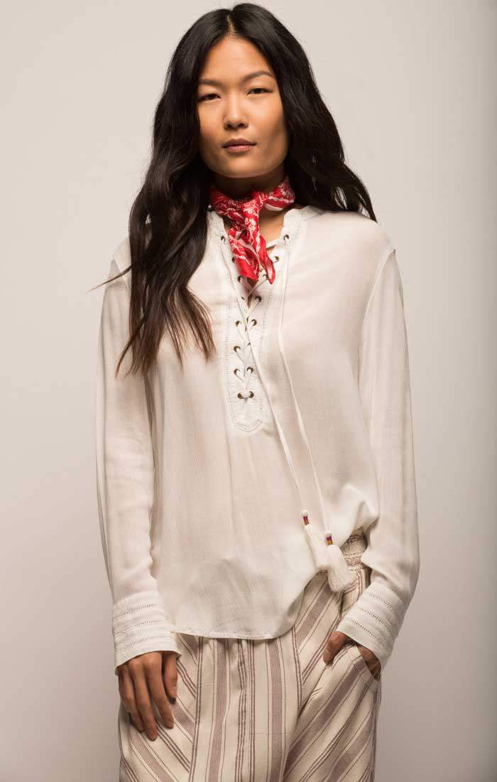 Lace Up Boho Blouse - White