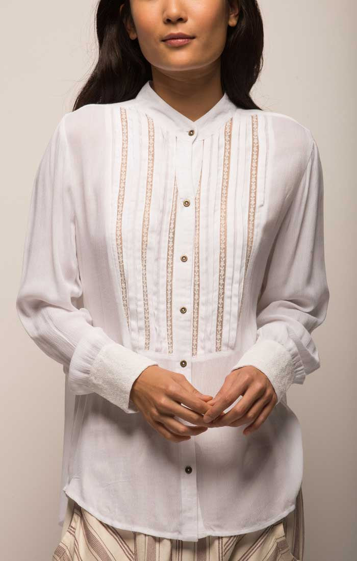 Banded Collar Blouse With Pleated Bib