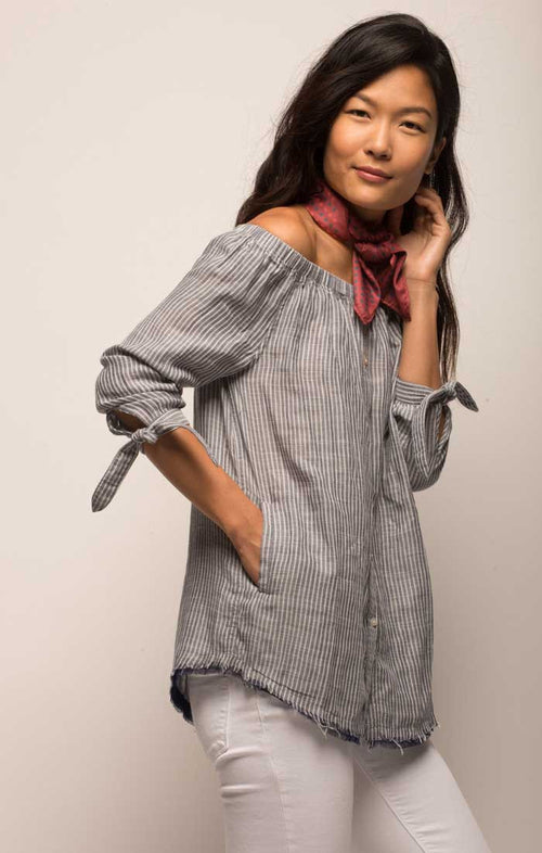 Off The Shoulder Striped Button Down - Blue