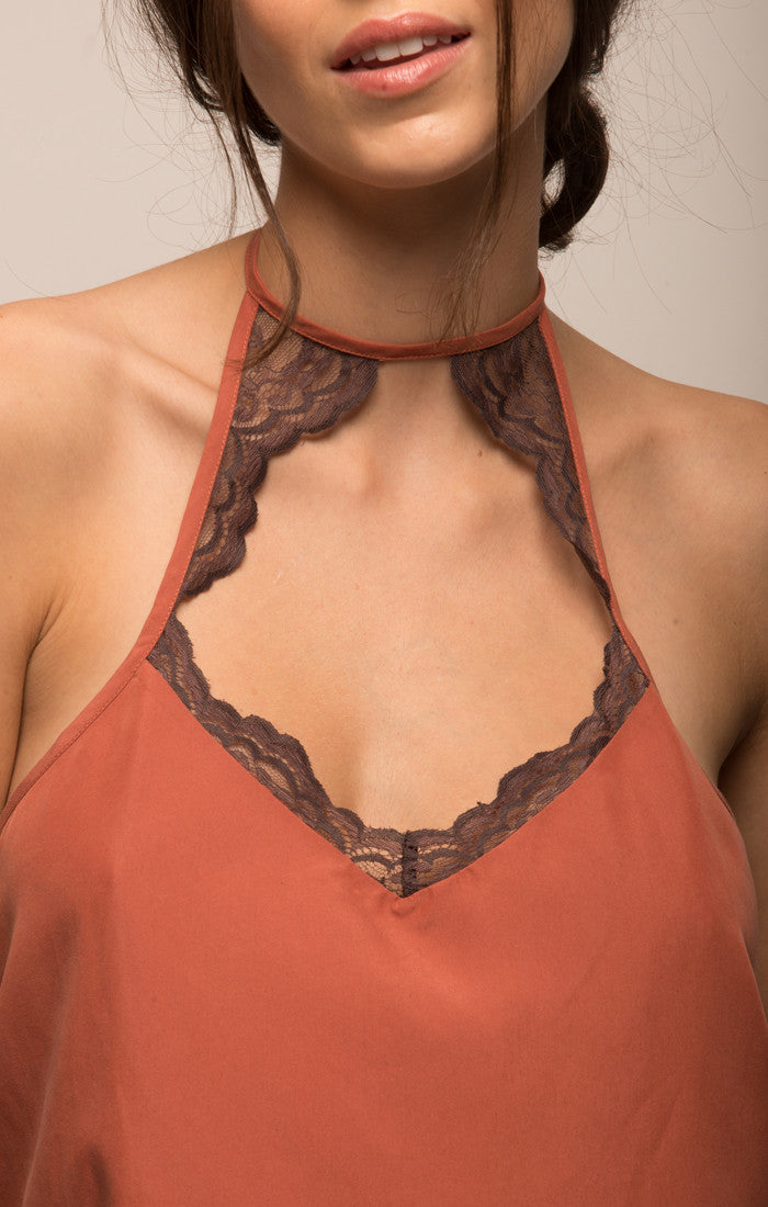 Lace Trim Halter Top - Coral