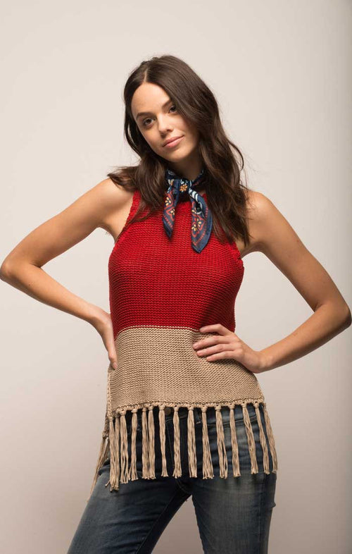 Color Blocked Crochet Tank - Red