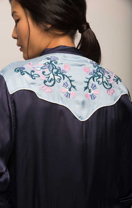 Embroidered Western Souvenir Jacket - Navy - jachs