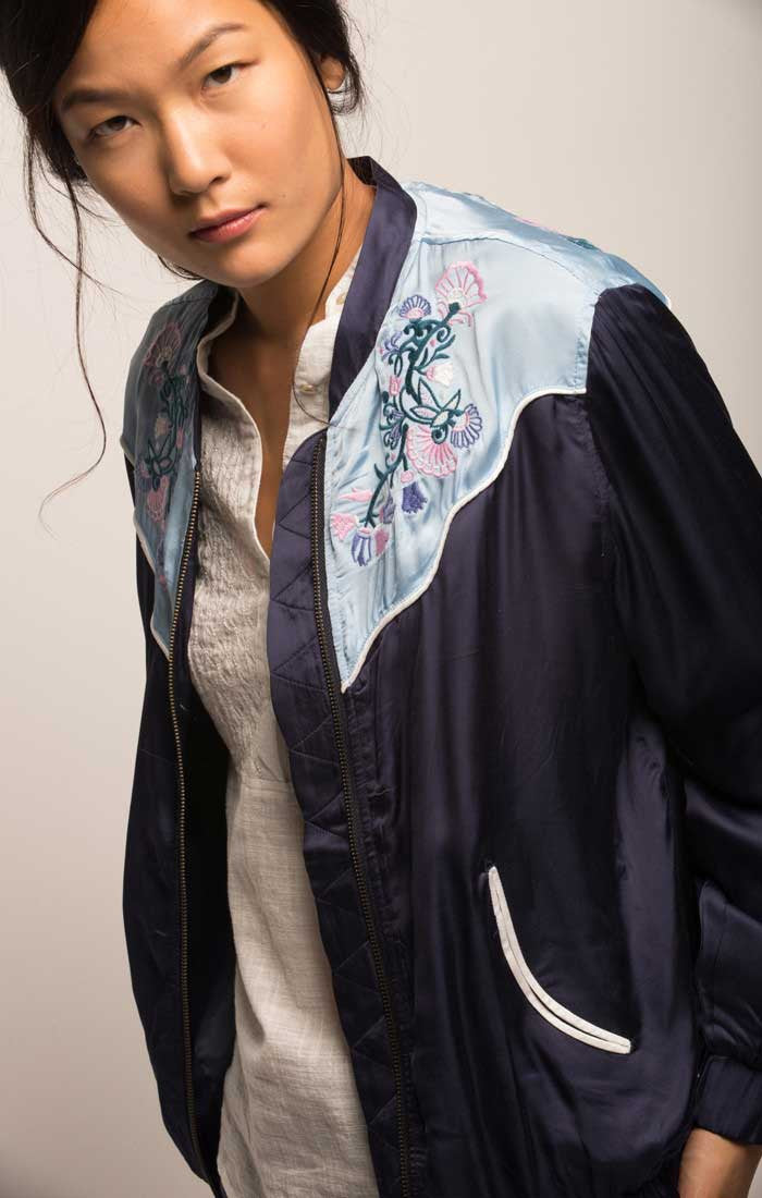 Embroidered Western Souvenir Jacket - Navy