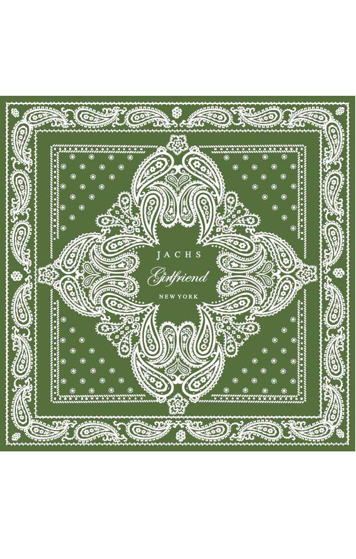 Paisley Bandana-Scarf With Logo - Green