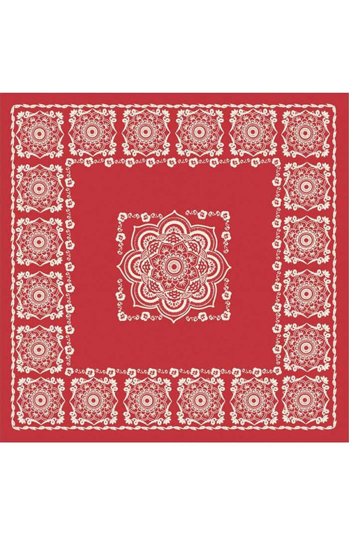 Lotus Bandana-Scarf - Red
