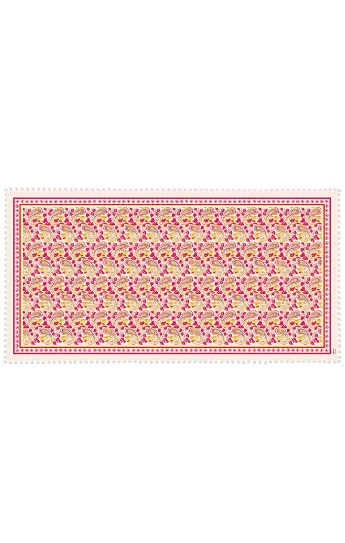 Abstract Paisley Mini-Scarf With Tassel Trim