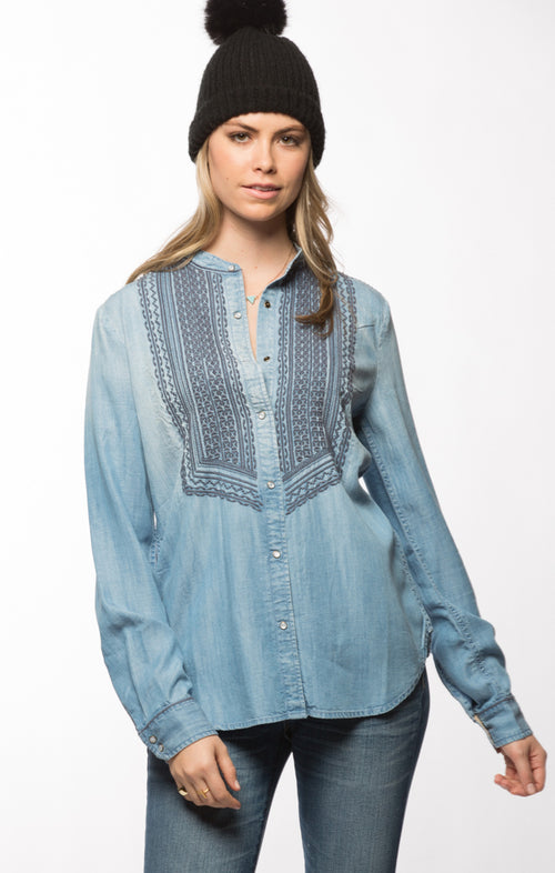 Embroidered Bib Denim Button Down- Light Wash