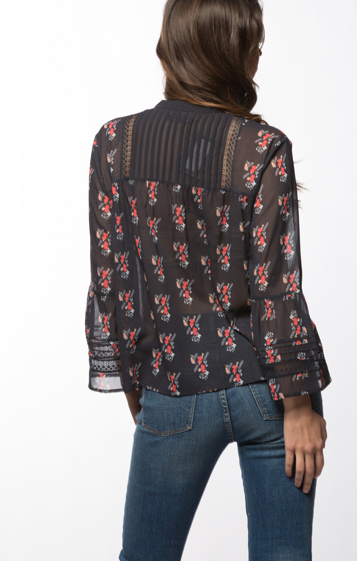 Printed Sheer Bib Blouse with Bell Sleeves