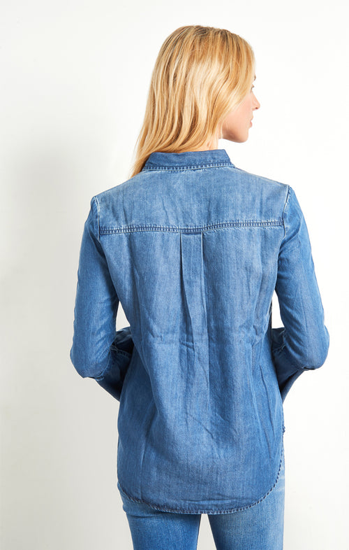 Denim Button Down with Bell Sleeves