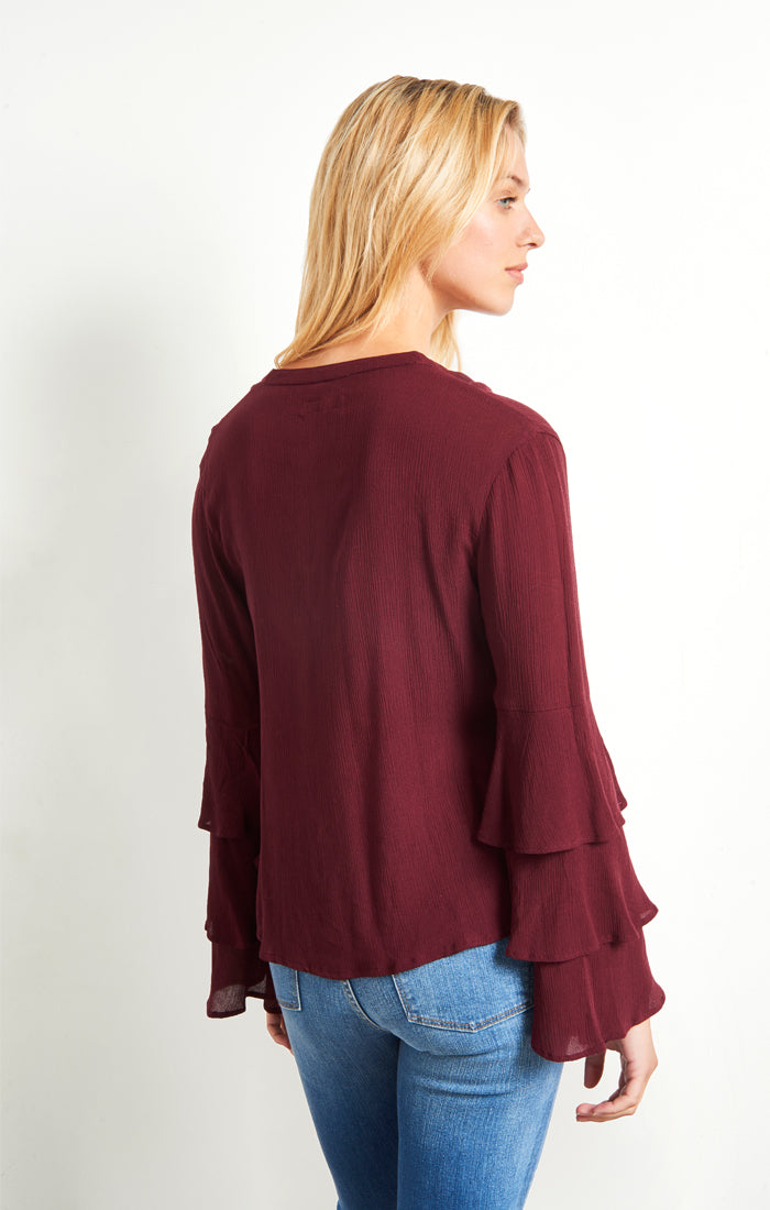 Burgundy Tiered Bell Sleeve Top