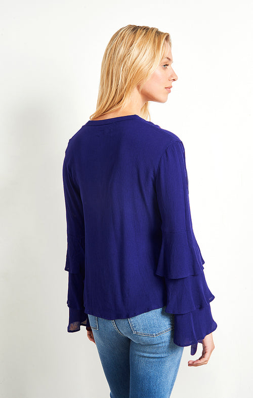 Navy Tiered Bell Sleeve Top