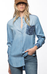 Embroidered Denim Button Down- Light Wash