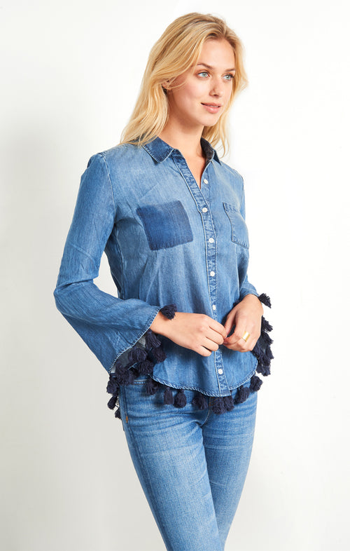 Denim Button Down with Tassels