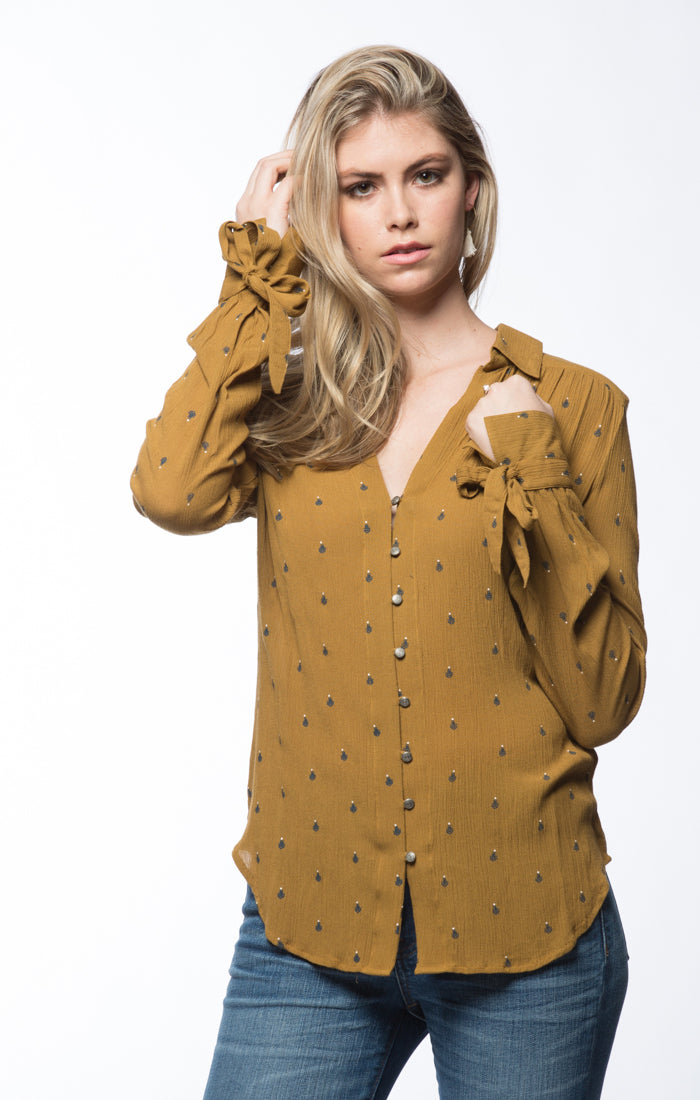 Printed Crinkle Rayon Top- Gold