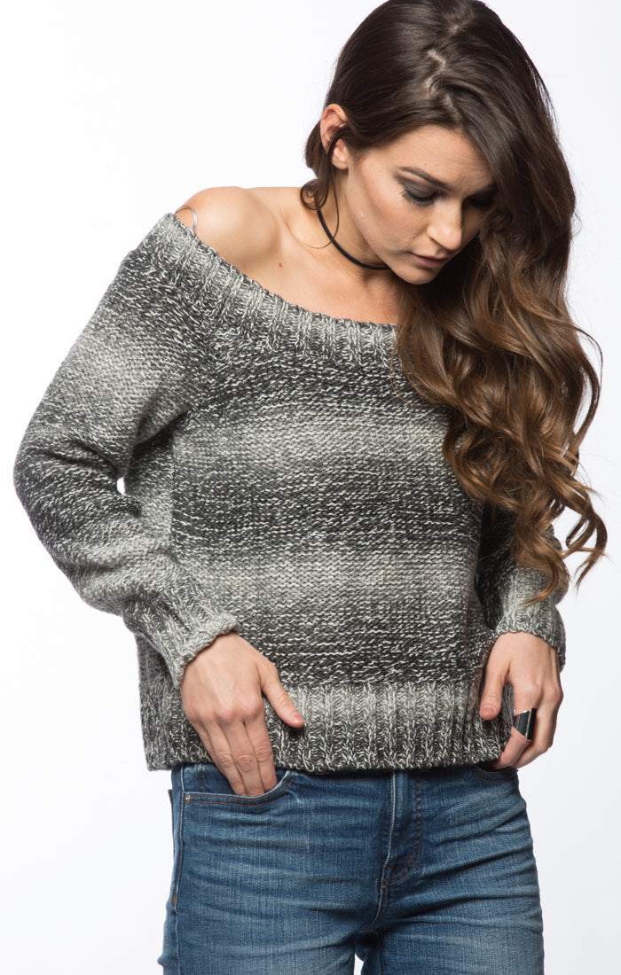 Ombre Off The Shoulder Sweater