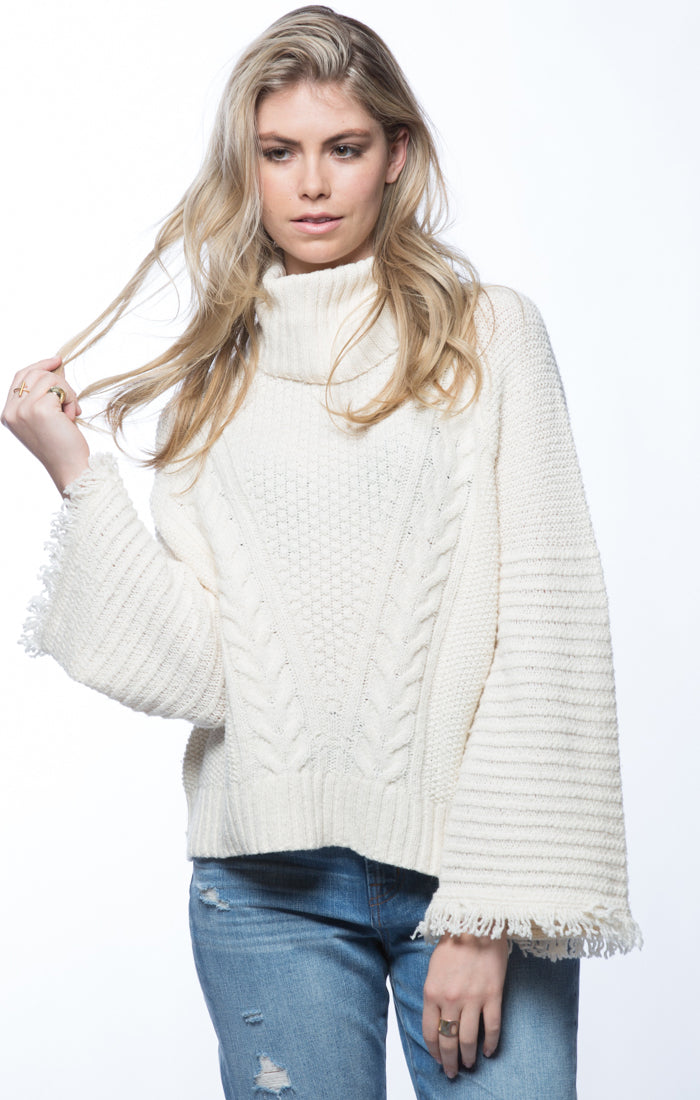 Bell Sleeve Turtleneck Sweater- Cream - jachs