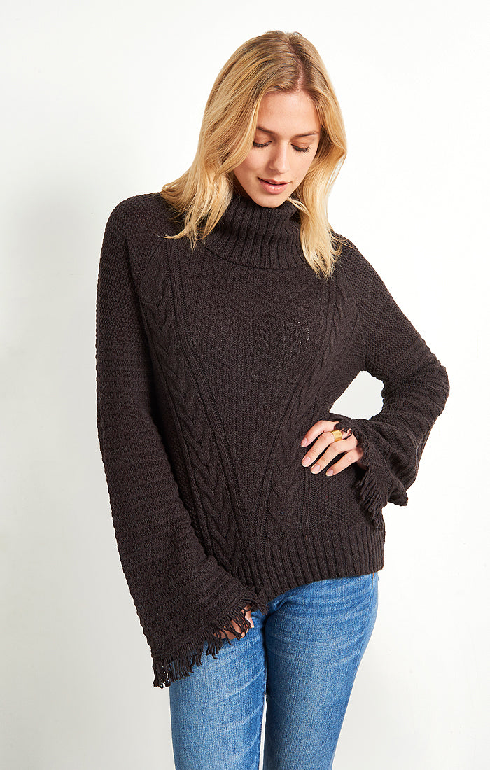 Bell Sleeve Turtleneck Sweater- Dark Grey - jachs