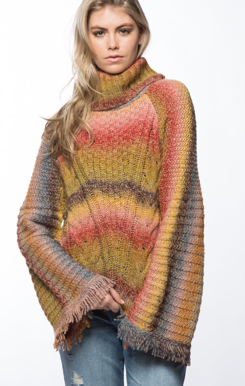 Bell Sleeve Turtleneck Sweater- Multi Color
