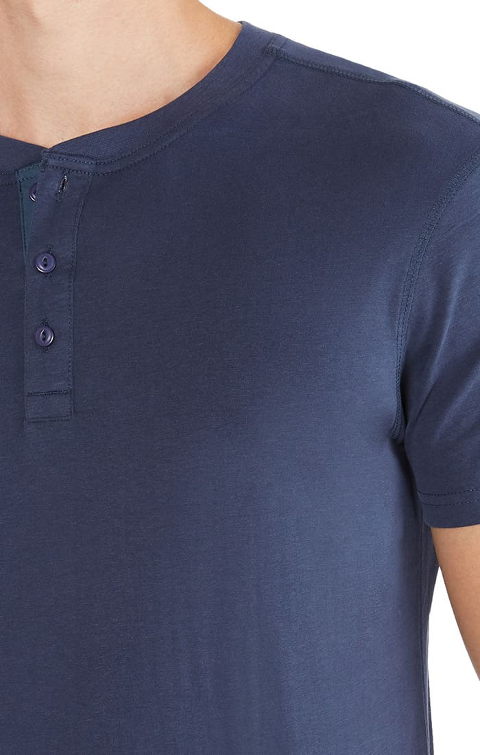Indigo Sueded Cotton Short Sleeve Henley - jachs