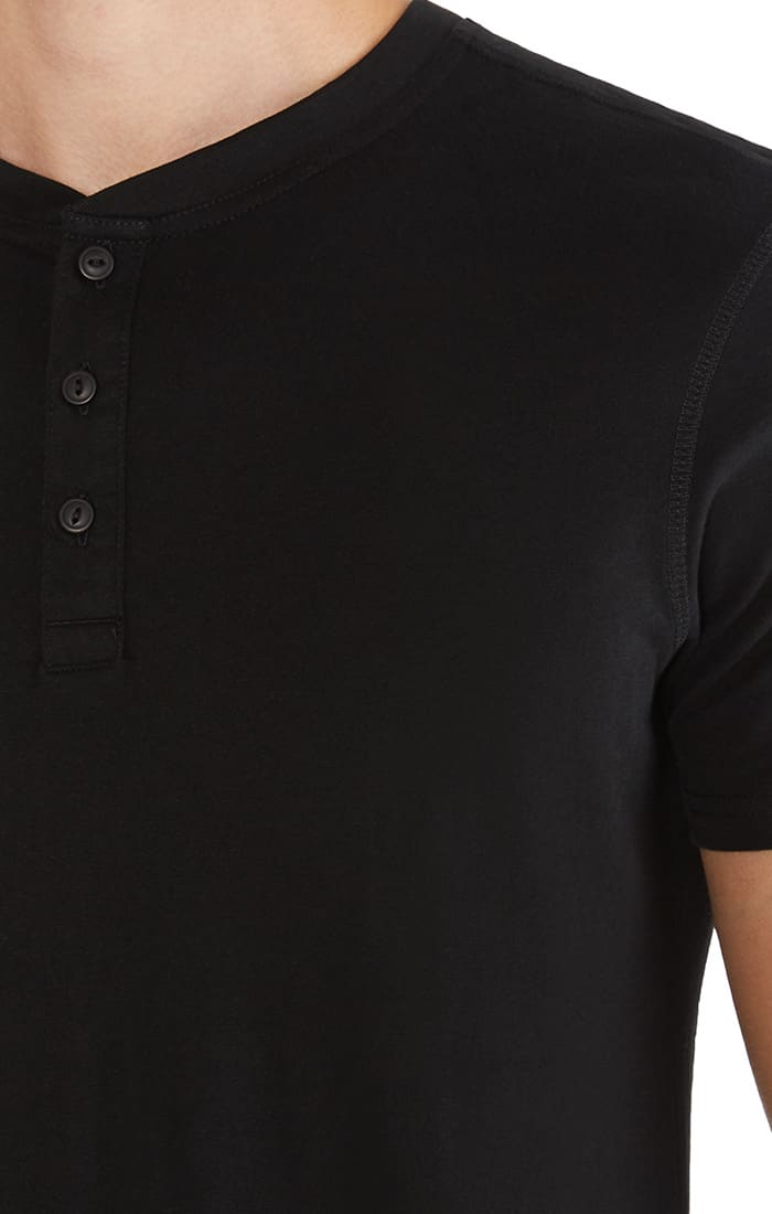Jet Black Sueded Cotton Short Sleeve Henley - jachs