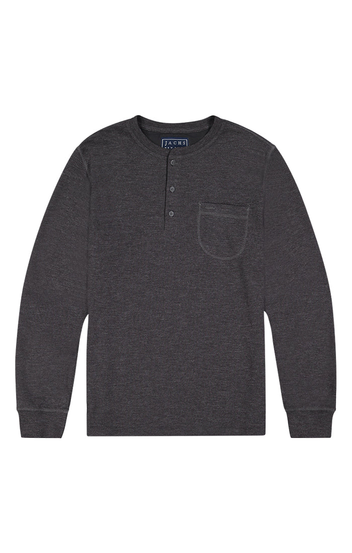 Dark Heather Grey Waffle Long Sleeve Henley