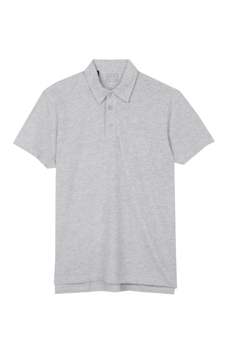 Light Heather Grey Sueded Cotton Polo - JACHS NY