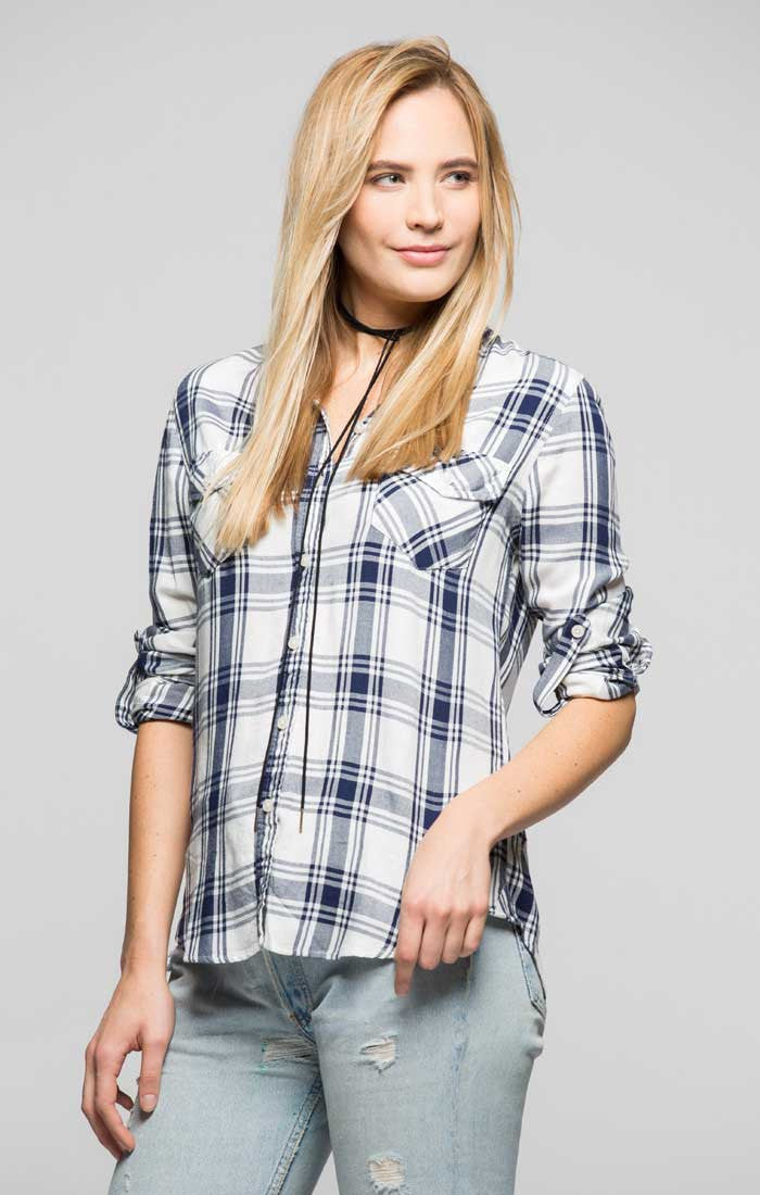 Plaid One Pocket Button Back Shirt - White and Navy