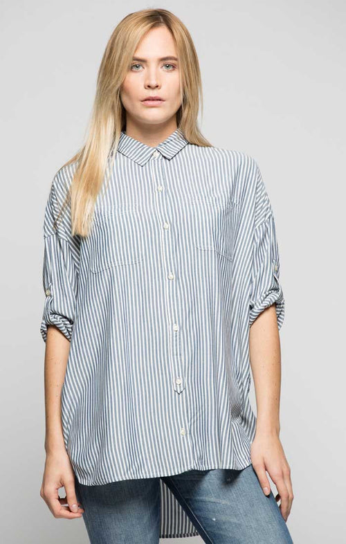 Striped Oversized Drop Sleeve Shirt - Grey