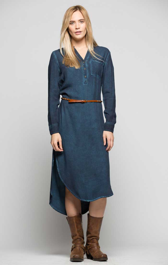 Henley Midi Dress - Navy